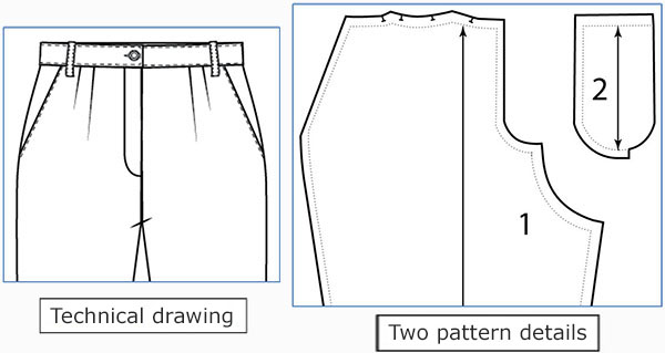 Technical drawing and pattern pieces